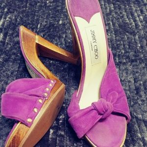 Jimmy Choo Purple Suede Platform Mules